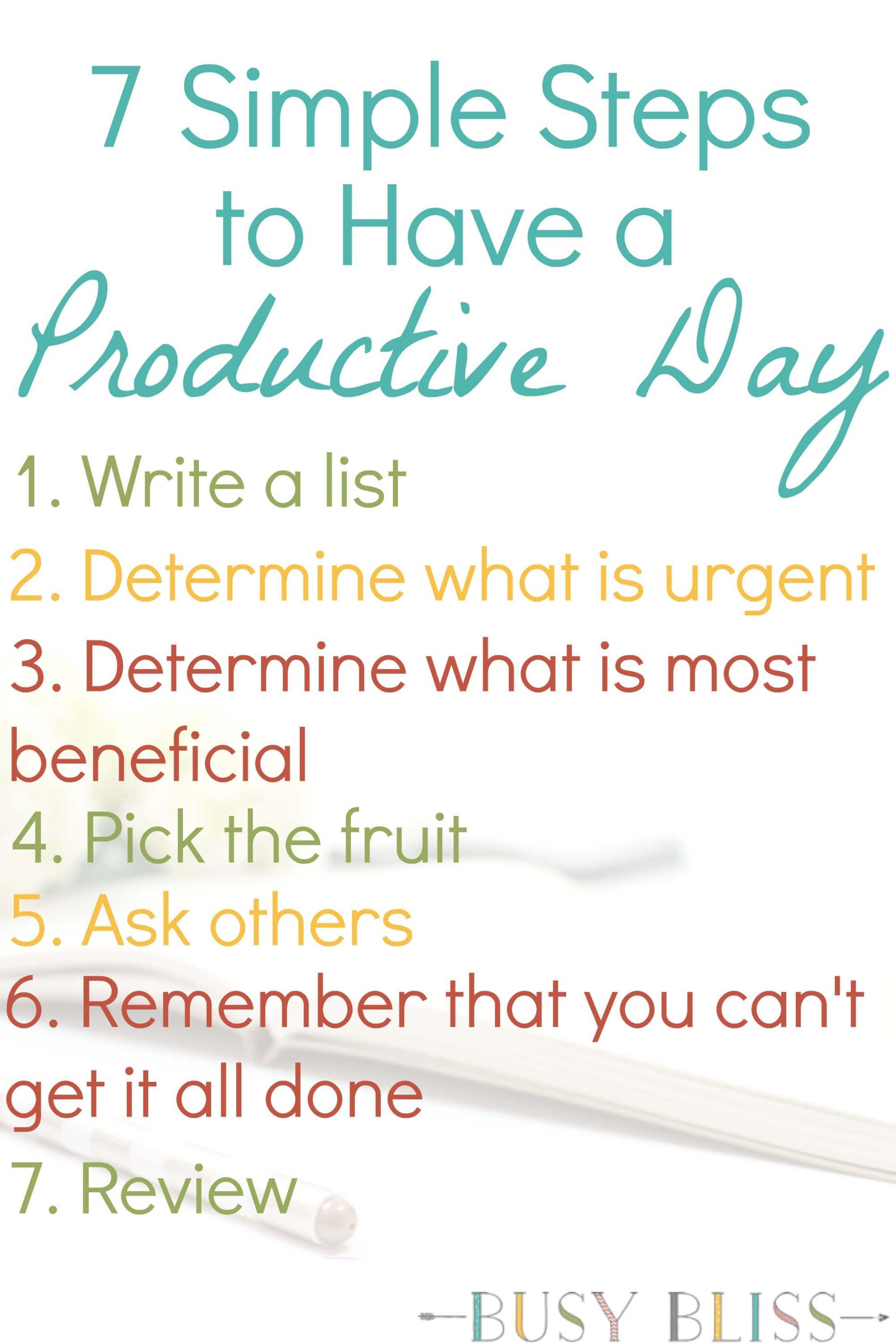 7 Simple Steps to Have a Productive Day Time management