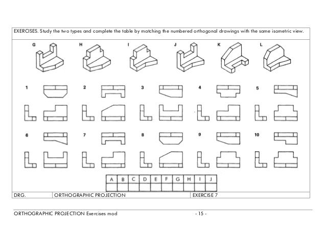 Match The Isometric View To Its Orthographic View