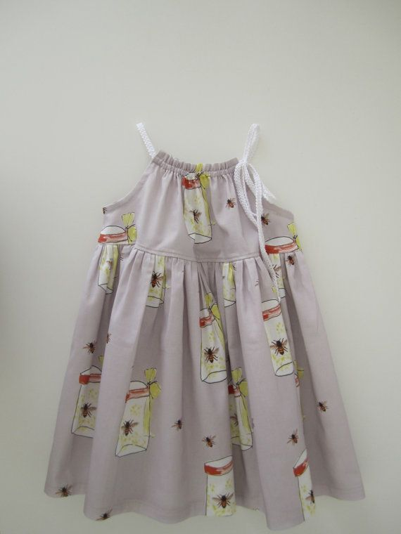 Summer Baby Dress-Who Let the Bees Out -infant toddler girl dress-sundress-grey and yellow-Handmade Children Clothing by Chasing Mini. $45.00, via Etsy.
