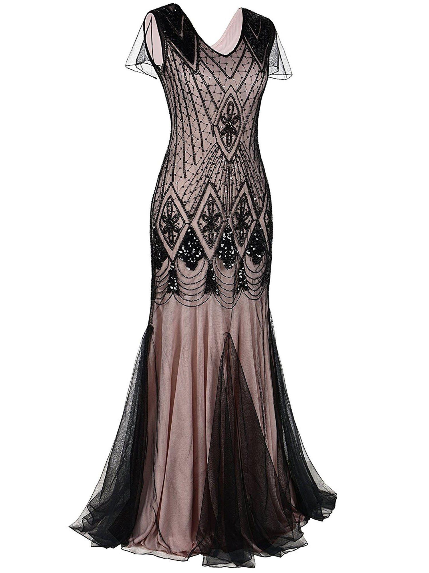 94fa87ed38ffe Pink 1920s Cap Sleeve Sequin Evening Dress | Online stores | Sequin ...