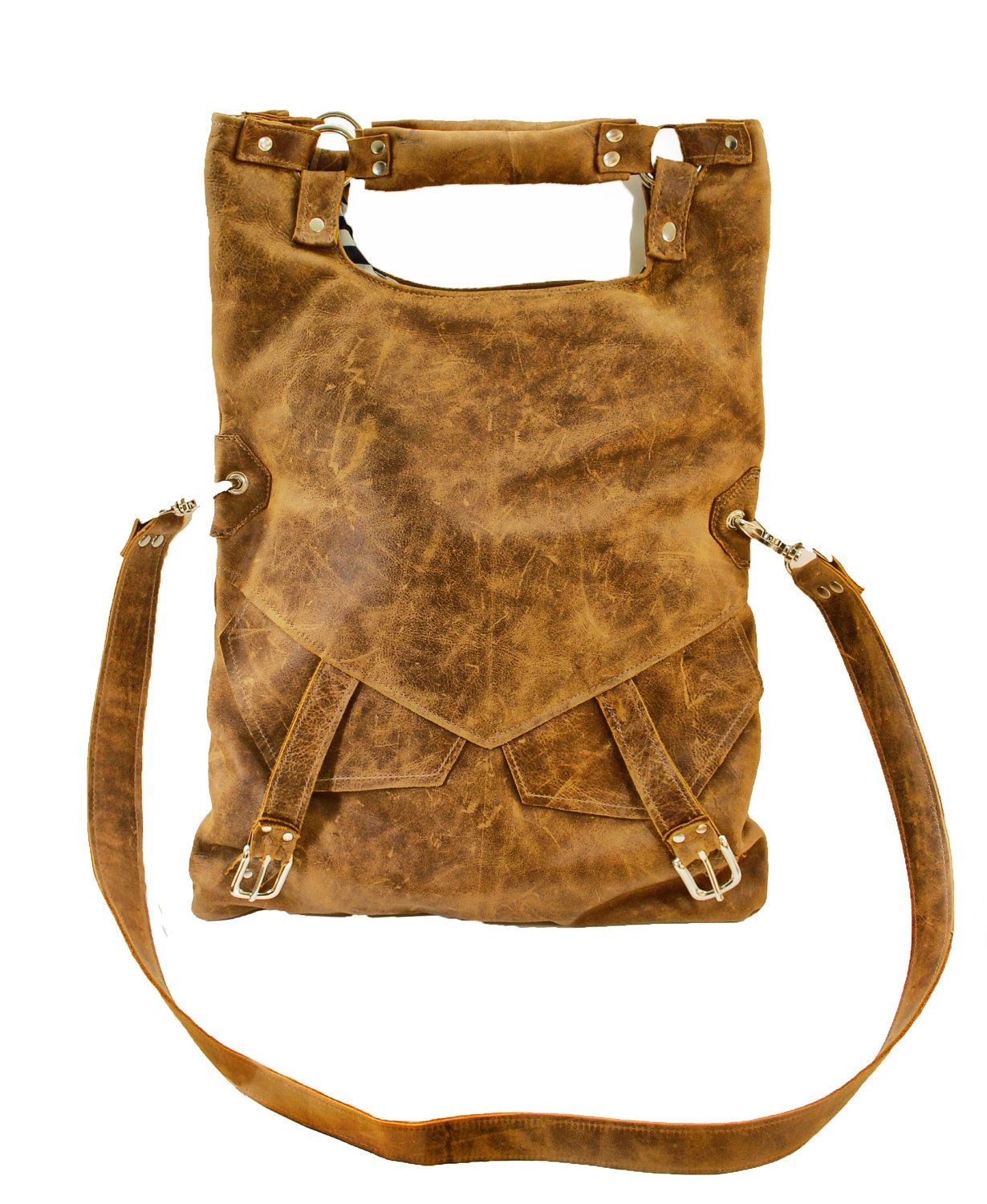 Large Slouch Leather Messenger Bag - Hipster Fold-over Hobo Bag Distressed Brown  Leather Purse d8694c05ff4fe