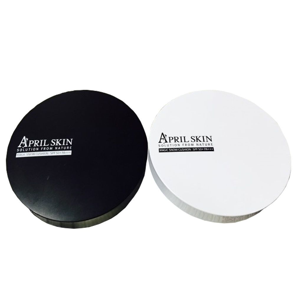 [AprilSkin] Magic Snow Air Cushion Black / White Foundation SPF50+ PA+++ 15g #AprilSkin #333korea #skincare #beauty #koreacosmetics #cosmetics #oppacosmetics #cosmetic #koreancosmetics