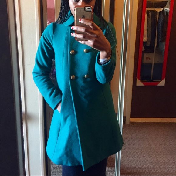 H&M teal green wool blend coat Fully lined wool blend coat with pockets and breasted button closure. Worn only once, still in good condition H&M Jackets & Coats