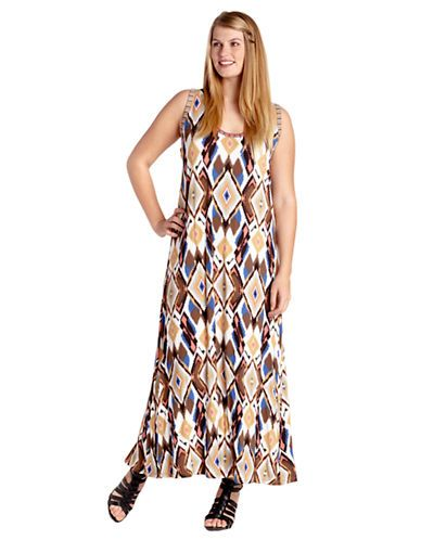An eye-catching diamond design lends a contemporary touch to this maxi dress from Karen Kane. Featuring a scoopneck and sleeveless silhouette.