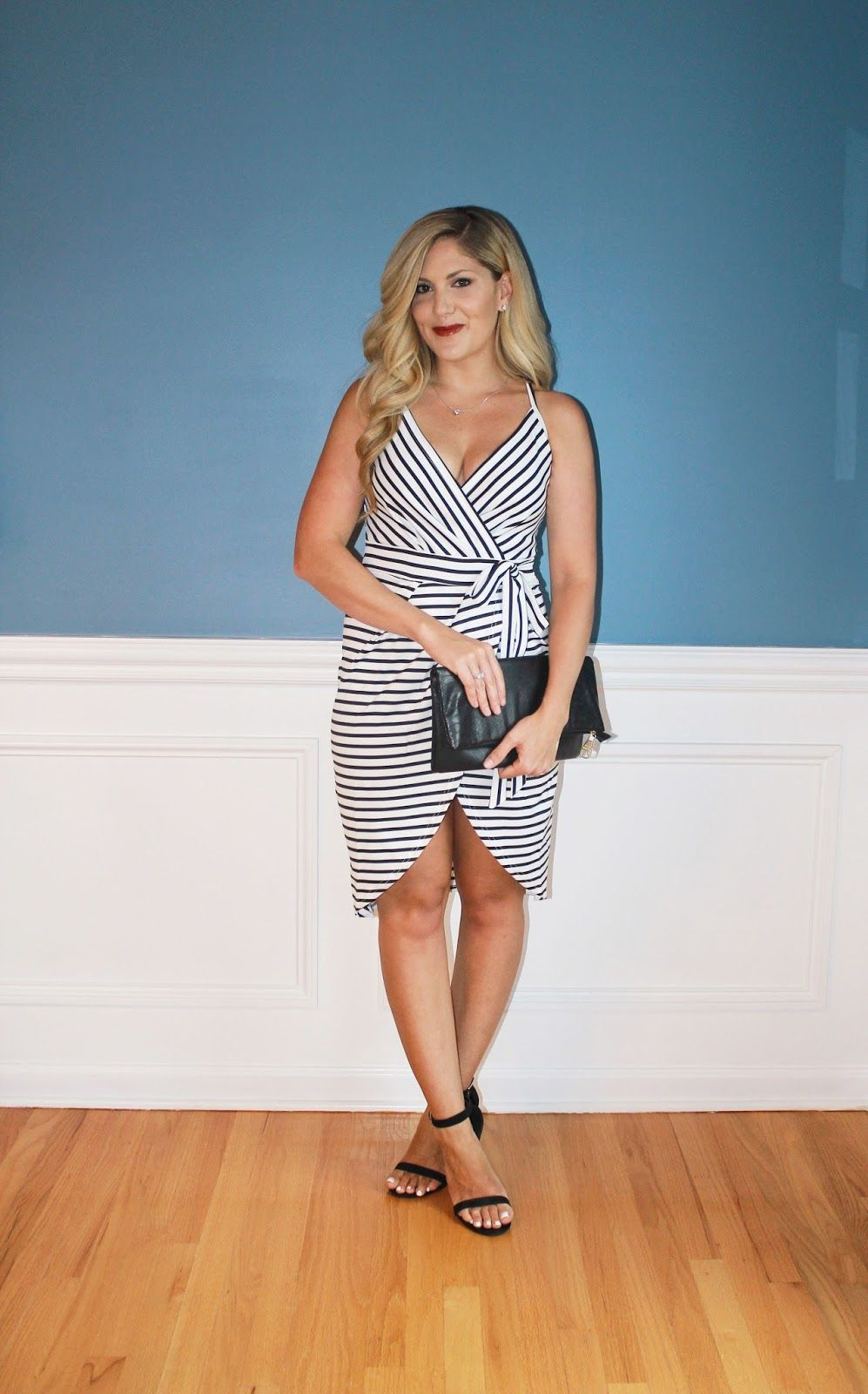 Outfitted wrap up striped wrap dress ankle strap heels