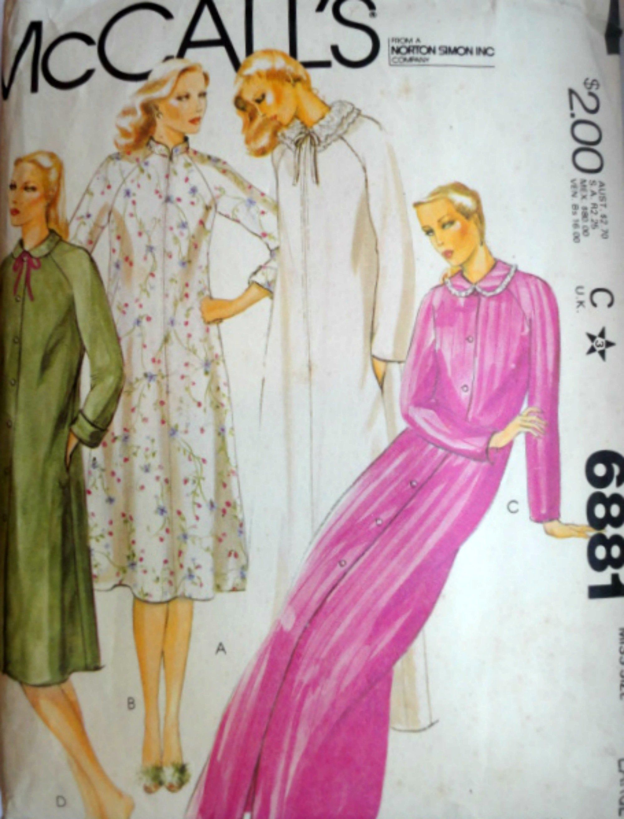 70's McCall's 6881 Misses' Robe/Full Length Robe Sewing Pattern, Size Large 18-20, Retro 1070's Loungewear