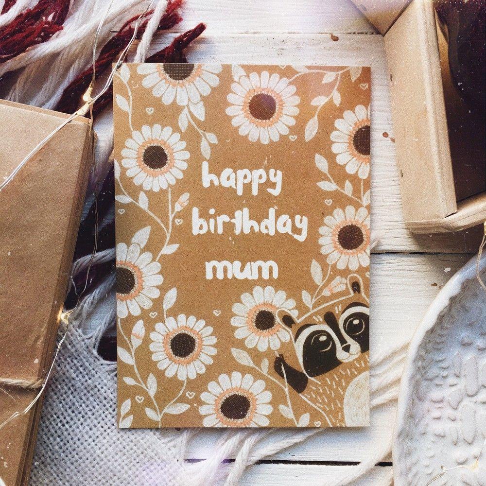 Открытка с енотом с днем рождения своими руками