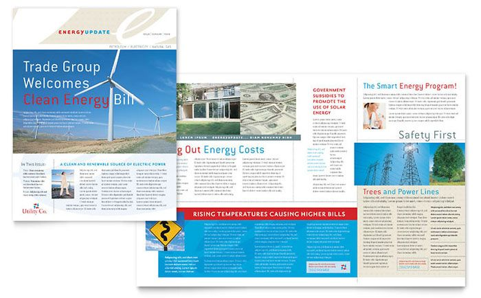 Utility and Energy Company Newsletter Design Template by