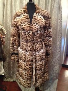 Annabella International Vintage Fox Leopard Print Coat Sz L $1299.00