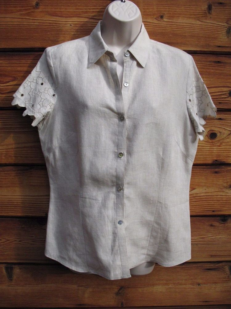d0cafa5a Women's White Linen Blouse Top Small M Edward NEW #Edward #Blouse ...