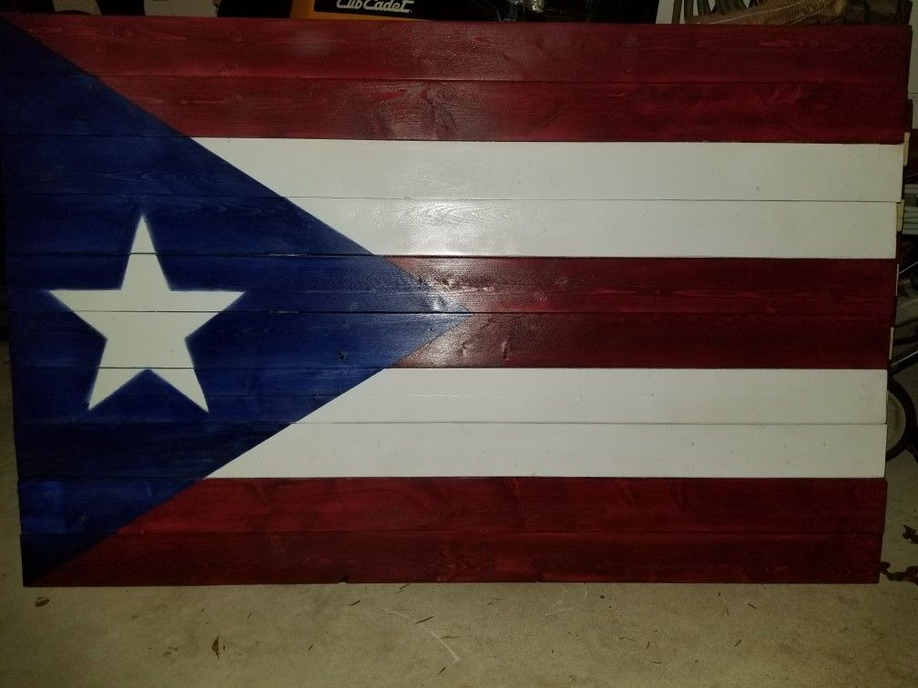 Puerto Rican Wooden Flag 45 Quot X 25 Quot Wood Flag Wooden