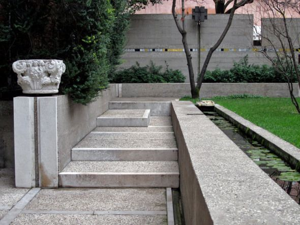 The garden of the Fondazione Querini Stampalia building in Venice, Italy. The ground floor and garden of this old palazzo have been renovated in the nineteen sixties by venetian architect Carlo Scarpa.