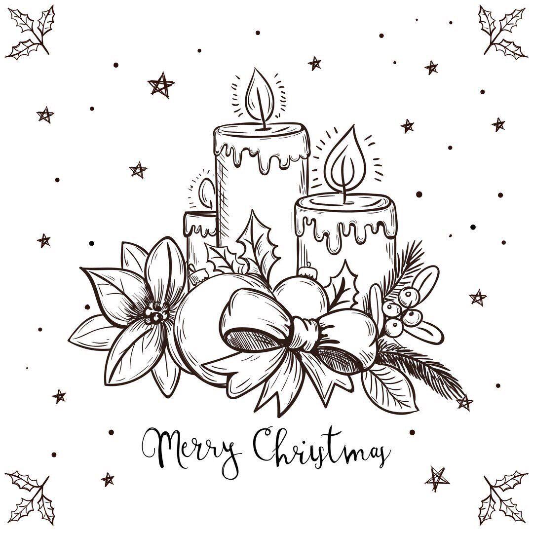 Розы, нарисовать открытки к рождеству