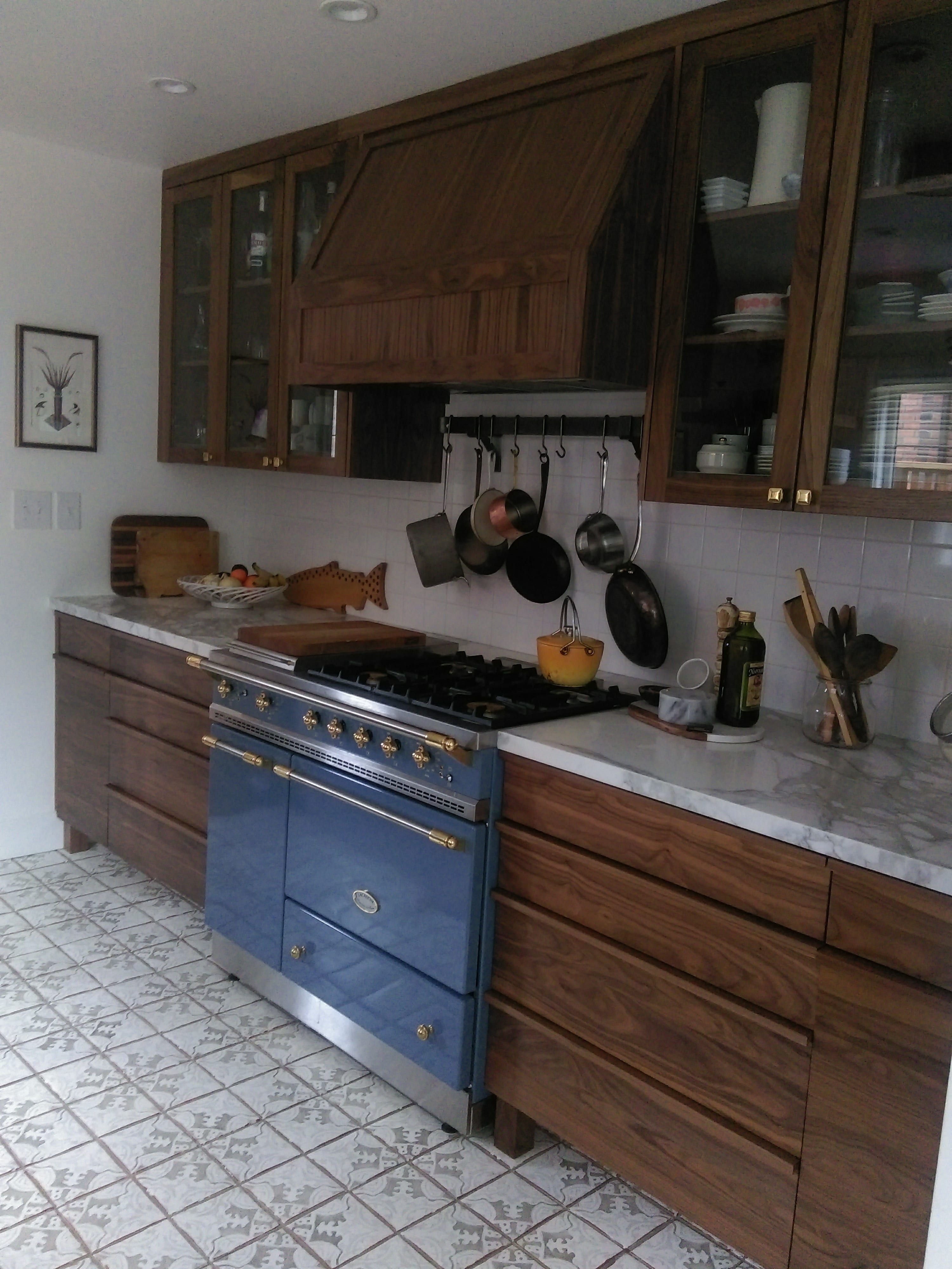 Marble Floor Kitchen A Lacanche Range In Armor With Custom Walnut Cabinetry And