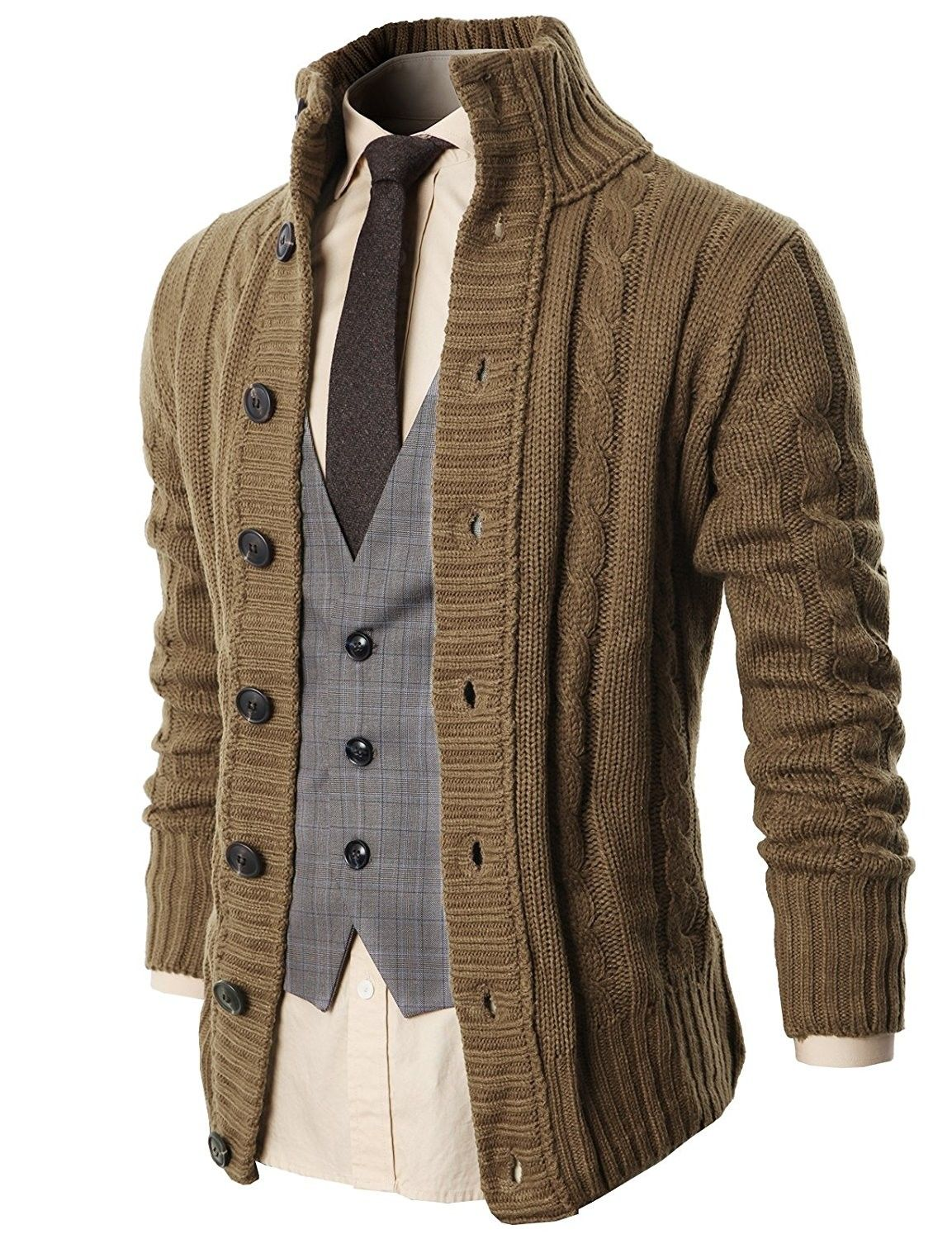 Mens Casual Stand Collar Cable Knitted Button Down Cardigan Sweater  Beige  C711I7ZDVAH is part of Clothes Mens Outfits - Color Beige SKU C711I7ZDVAH Giftwrap Available