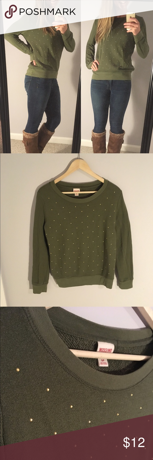 Mossimo Gold Studded Sweater Size S This cozy Mossimo sweater is perfect for fall/winter! Cute gold stud details cover the front of this sweater. The back is plain. Only worn once! Women's size S. Feel free to ask any questions 😊 Mossimo Supply Co Sweaters Crew & Scoop Necks
