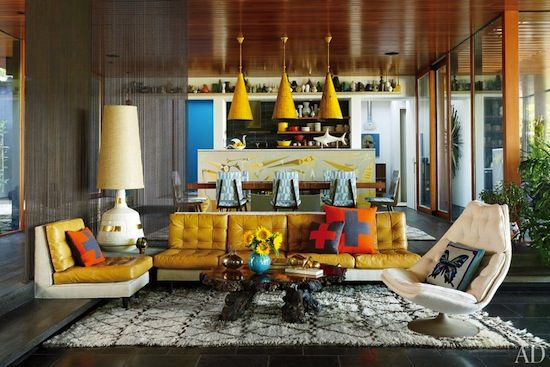 There is no way to describe this awesome living room other than groovy. From Jonathan Adler & Simon Doonan's Shelter Island home