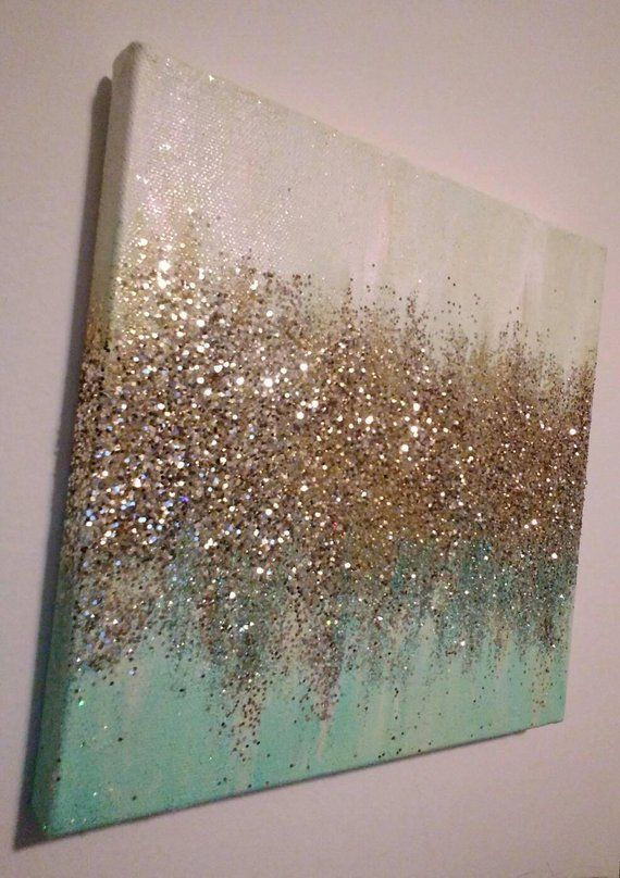 Photo of Handmade Abstract Glitter Painting Custom Modern Chic Home Decor Mint Blue Green Gold