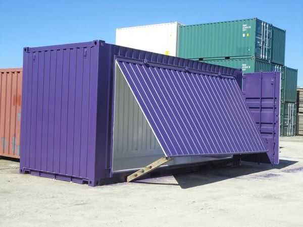 20 Open Side Container Purple Container House Shipping Container Home Designs Shipping Container
