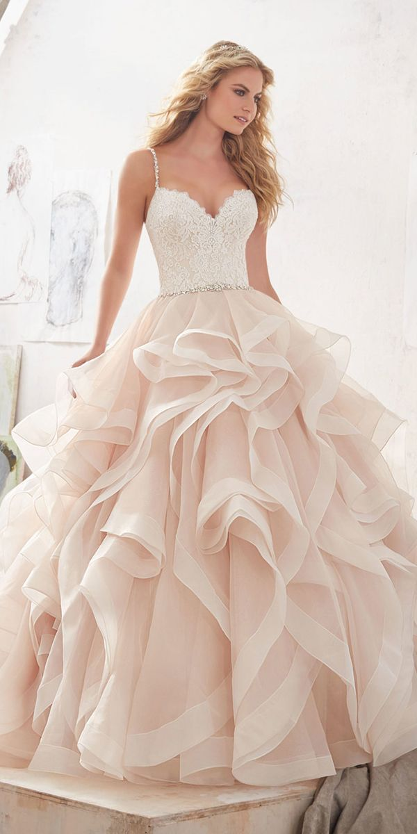 Ruffles Tulle Blush Wedding Dresses 2