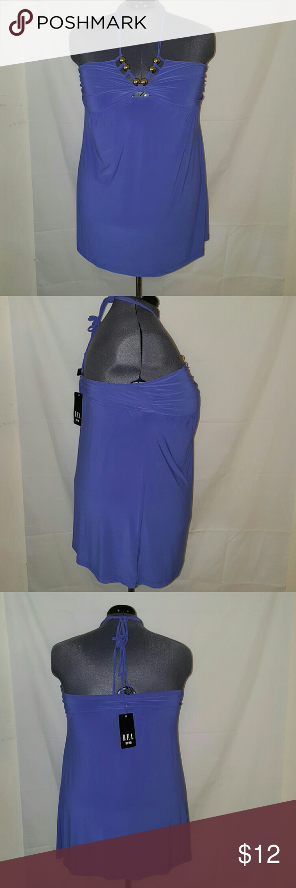 BLUEISH PURPLISH HALTER TOP Size L but can fit a 2x very stretchy 95% polyester 5% spandex Tops