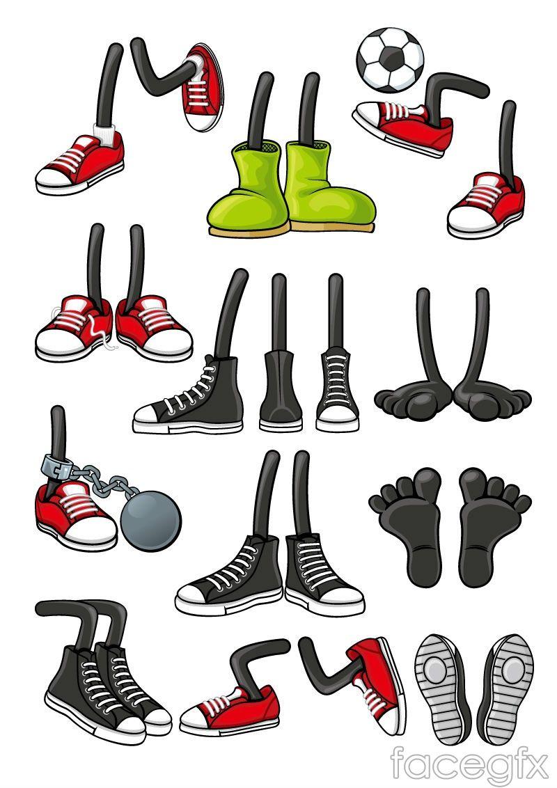 Cartoon Character Shoes Design Vector For Free Download Free Vector Cartoon Shoes Cartoon Clip Art Birthday Cartoon