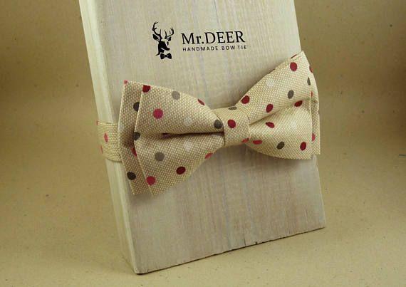 MD129  Nude Ligt Brown Polka Dot Pattern Bow Tie  Grooms