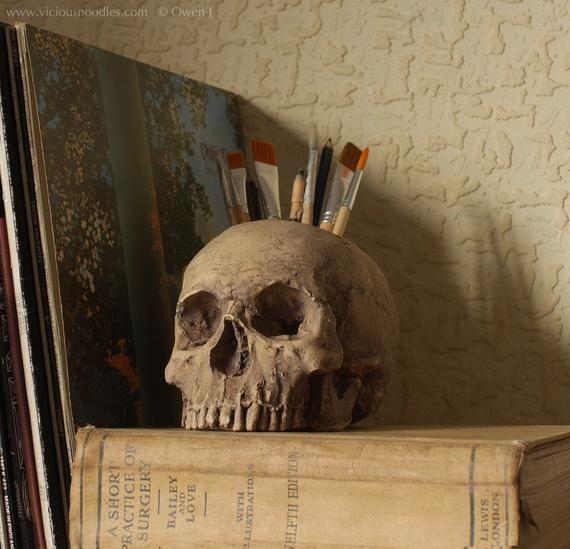 Photo of HUMAN SKULL brush holder, life size & detailed, for paintbrushes, make up brushes, pencils, office stationery