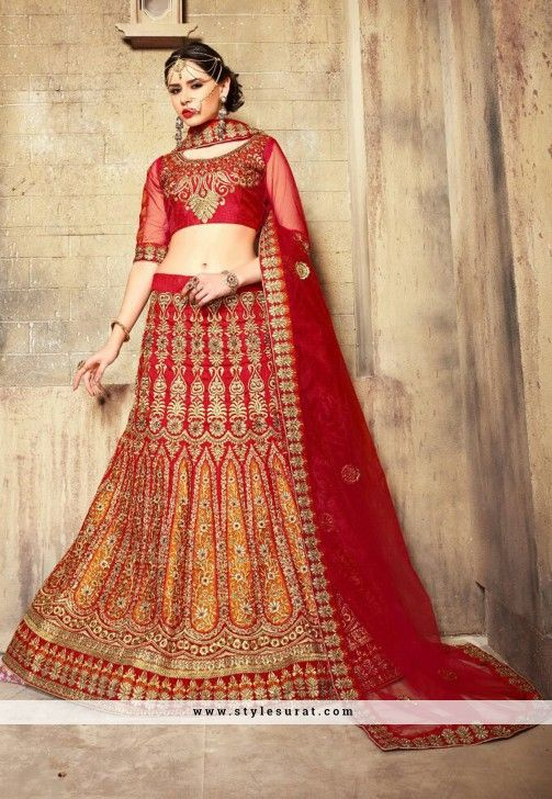 Breathtaking Red Color Dupioni Raw Silk Fabric Bridal Wear Lehenga Choli