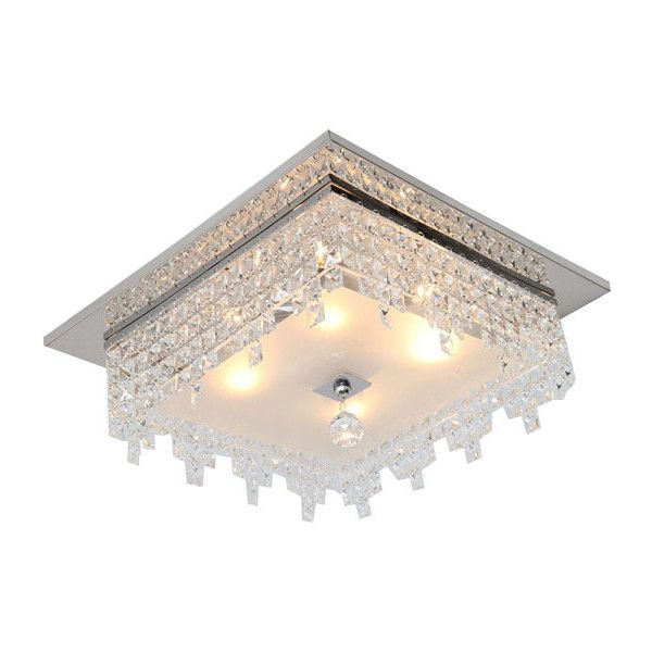 Modern Quadrate Crystal Flush Mount ($228) ❤ liked on Polyvore featuring home, lighting, ceiling lights, crystal hanging lamps, crystal ceiling lights, crystal hanging lights, crystal glass lamp and crystal lamps