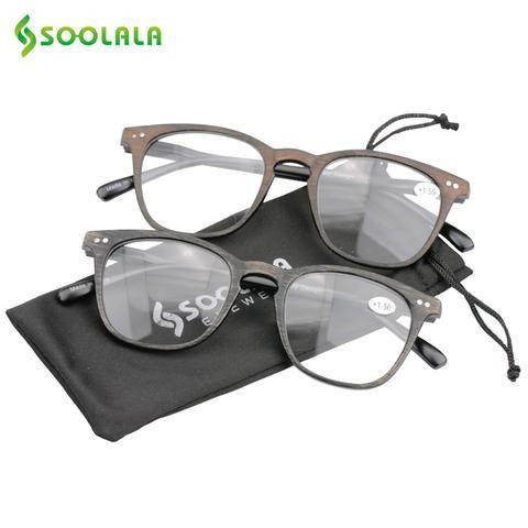 497b50249b4 SOOLALA Bamboo Reading Glasses Women Mens Eyewear Frames Woodgrain Reading  Glasses with Spring Hinge Arms +1.0 to 4.0