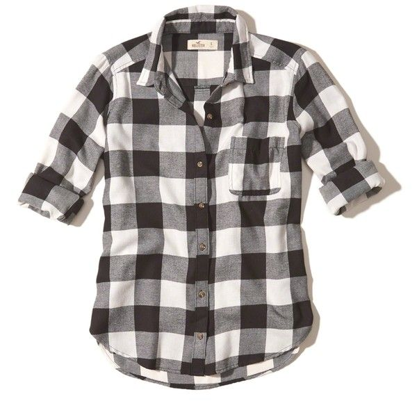b6229bda422 Hollister Button-Front Flannel Shirt ( 40) ❤ liked on Polyvore featuring  tops