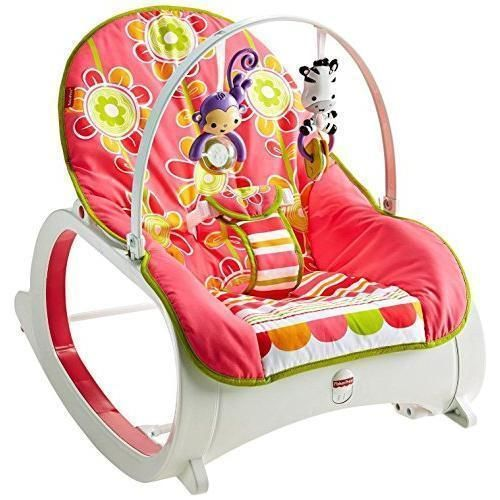 Infant To Toddler Rocker Baby Portable Chair Sleeper Swing Toy Bar Pink  Floral