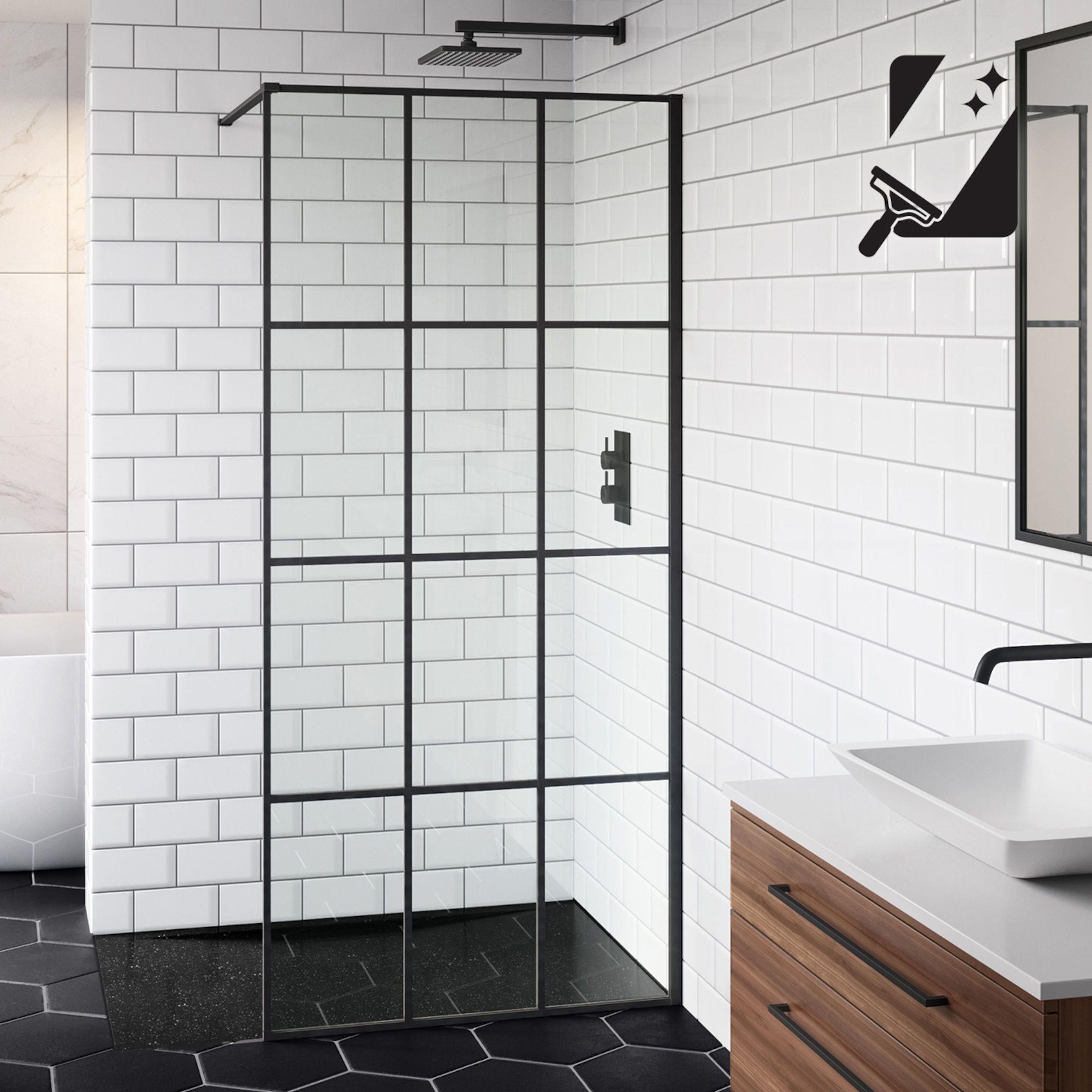 Shoji Crittall Style Shower Screen Black Shower Enclosure Soak Com Black Shower Doors Wet Room Shower Shower Screen