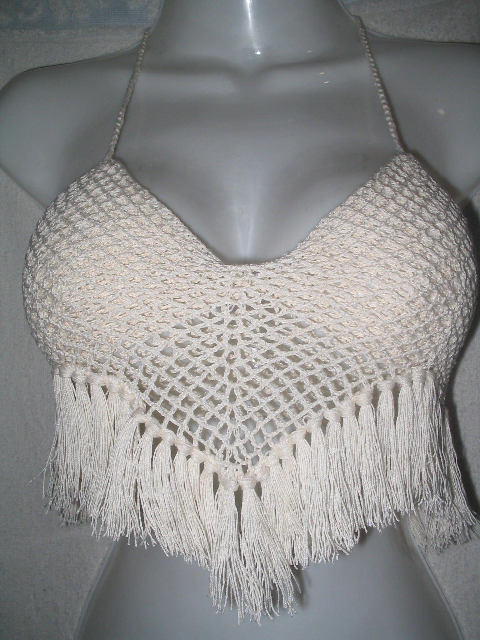 Top con flecos tejido en hilo algodon top pinterest crochet crochet jacket bankloansurffo Image collections