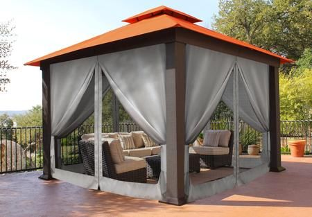 Seville Gz734rk 12 X 12 Gazebo With Rust Top And Privacy Curtains And Mosquito Diseno Casas Pequenas Chimeneas Exteriores Asadores De Patio