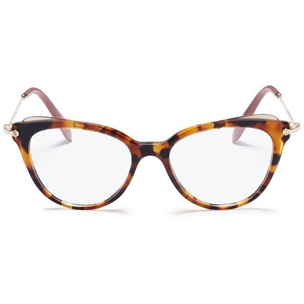 45c144bc077 Miu Miu Tortoiseshell acetate cat eye optical glasses ( 318) ❤ liked on  Polyvore featuring