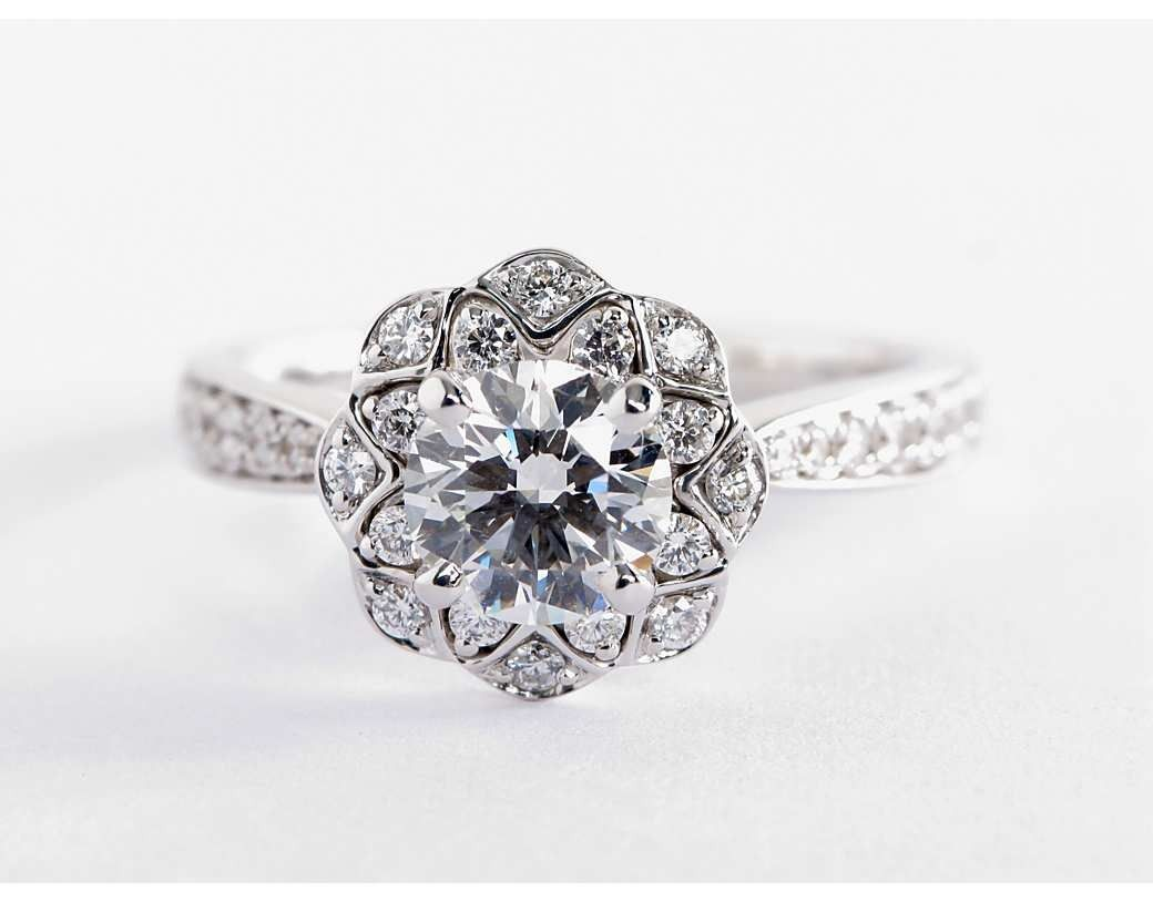 Truly Zac Posen Scalloped Floral Halo Diamond Engagement ...