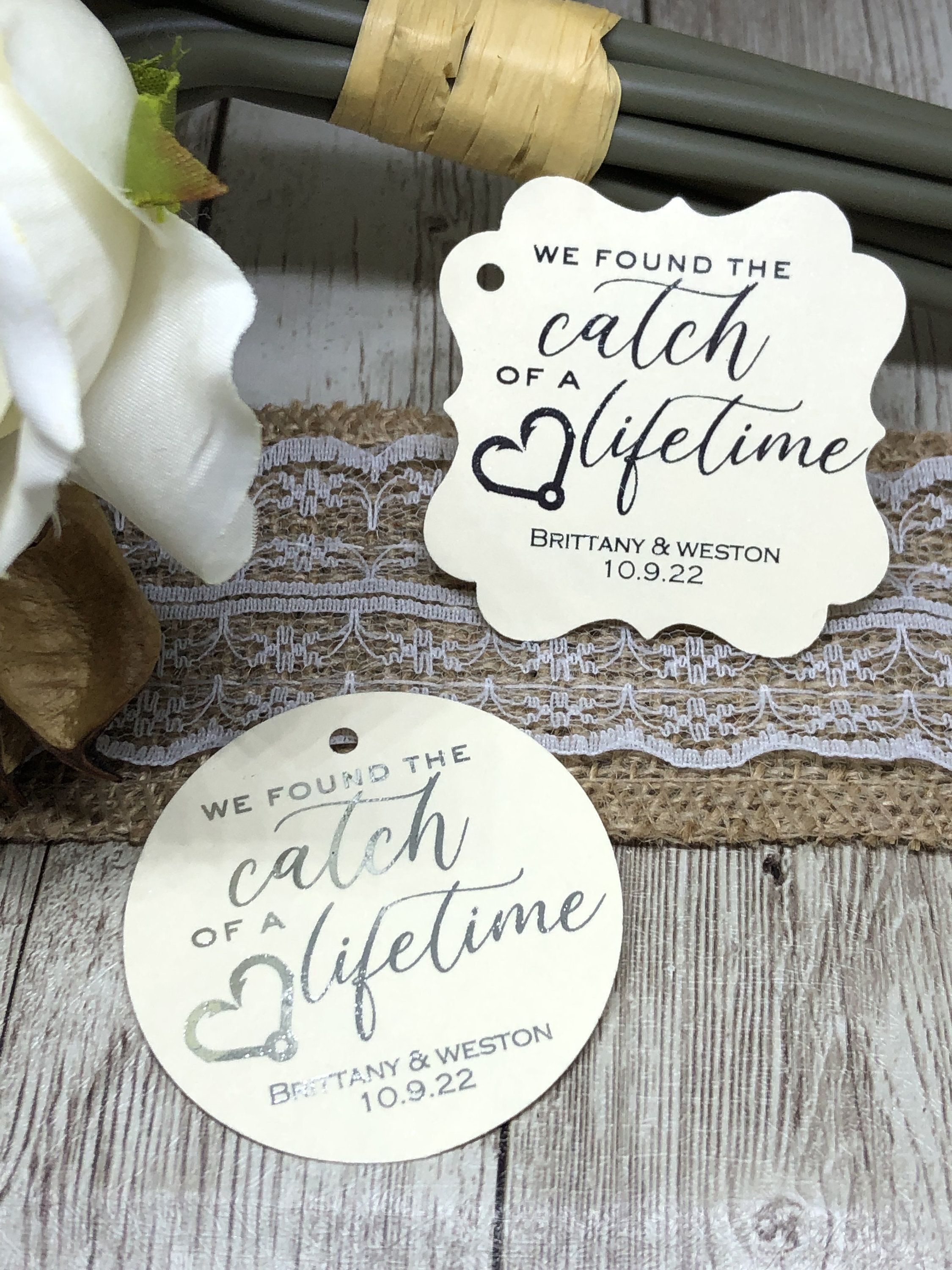 2 Personalized Wedding Favor Tags Wedding Tags Gold Foil Tags Fish Hook Favo Wedding Favor Tags Personalized Wedding Favor Tags Personalized Wedding Favors