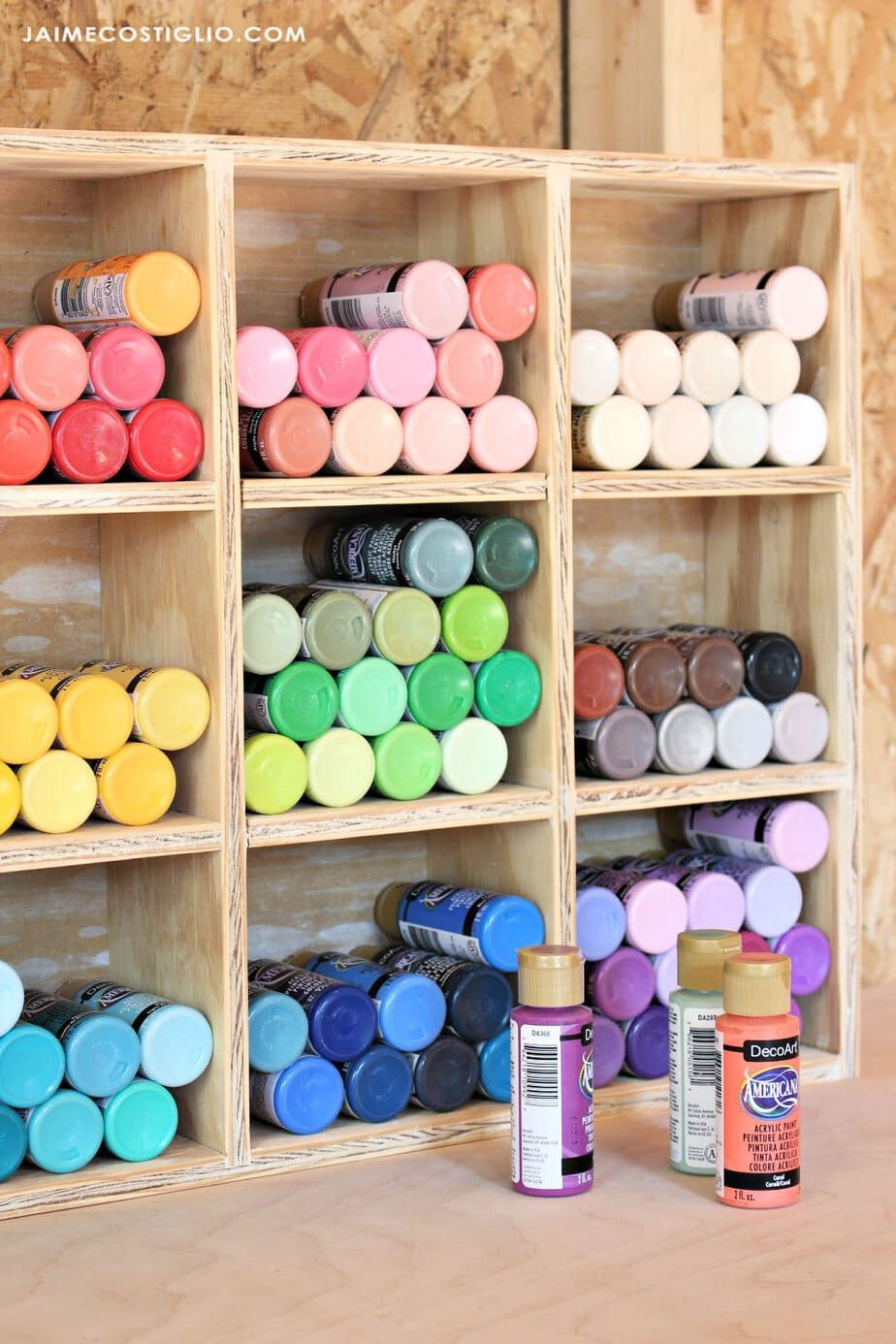 A DIY tutorial to build a craft paint storage container using scrap plywood Organize your craft paints in a tidy and user friendly display shelf