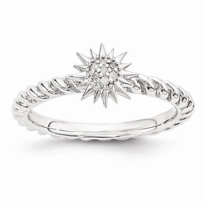 Zales Stackable Expressions Diamond Accent Starburst Ring in Sterling Silver 97Y6w