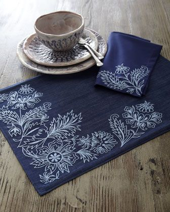 """Chambray"" Place Mats  Napkins at Horchow...I want to bleach pen my cloth napkins like this now."