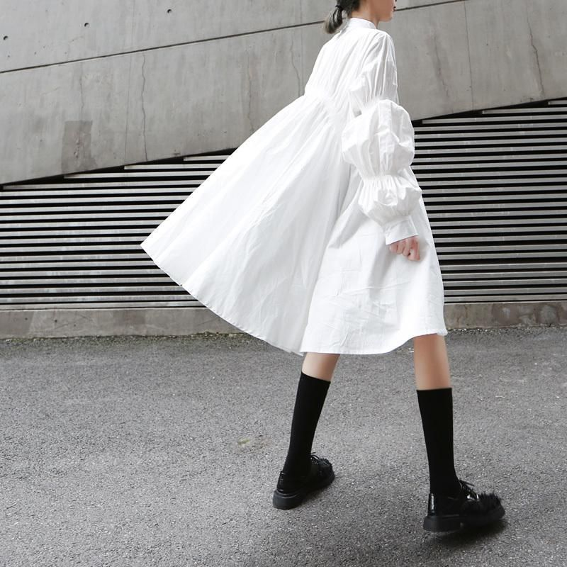 Hotaru Long Sleeve Pleated Shirt Dress - White – Marigold Shadows