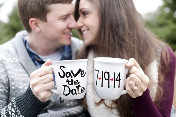 Save the Dates with cocoa mugs!