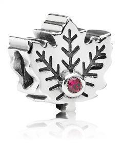 Pandora Silver & Synthetic Ruby Maple Leaf Charm 791215SRU