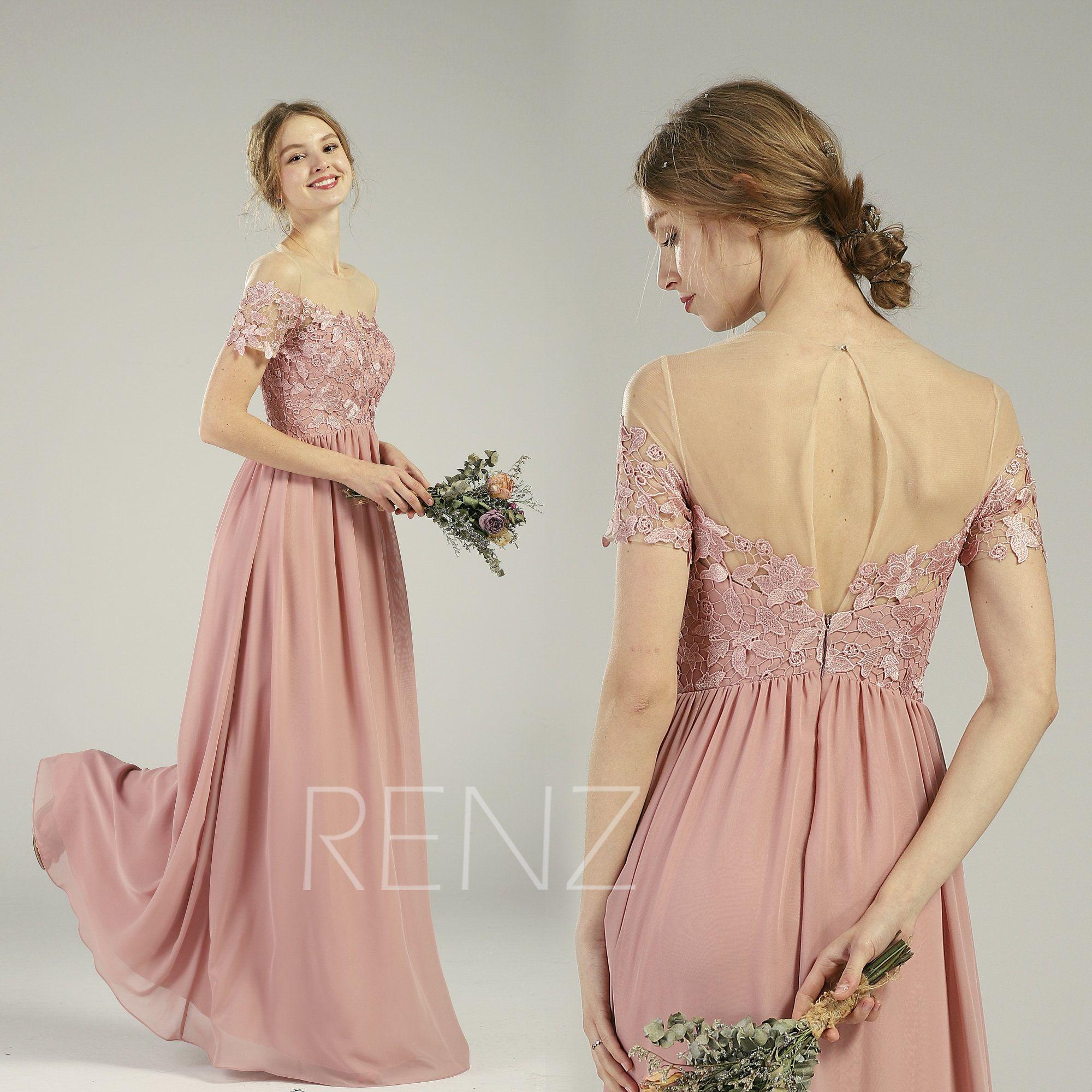 Dusty rose bridesmaid dress boho short sleeve party dress