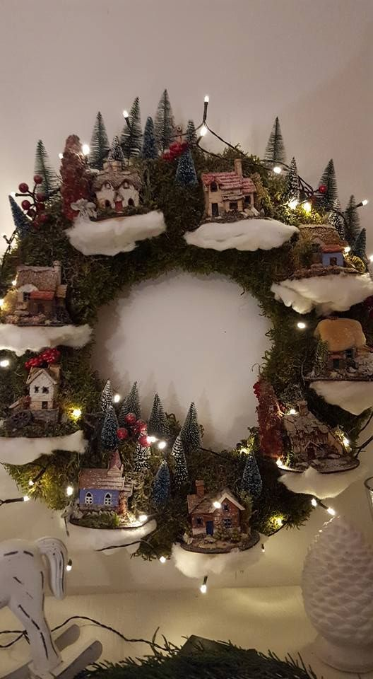 Pin By Cla Claudia On Alles Christmas Village Display Christmas Wreaths Christmas Tree Village