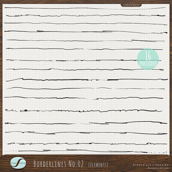 Borderlines No. 02 includes a set of (16) hand-illustrated borders in black, great for journaling and/or adding that hand-illustrated touch to digital and hybrid scrapbook layouts and projects. Change up the colors for even more personalized flair!*