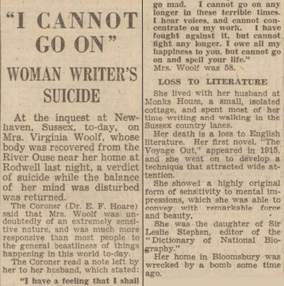 """""""I cannot go on."""" How The Gloucestershire Echo reported Virginia Woolf's suicide in 1941...♔.."""
