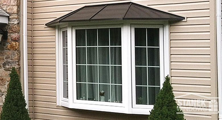 White Three Lite Bay Window With Colonial Grids And